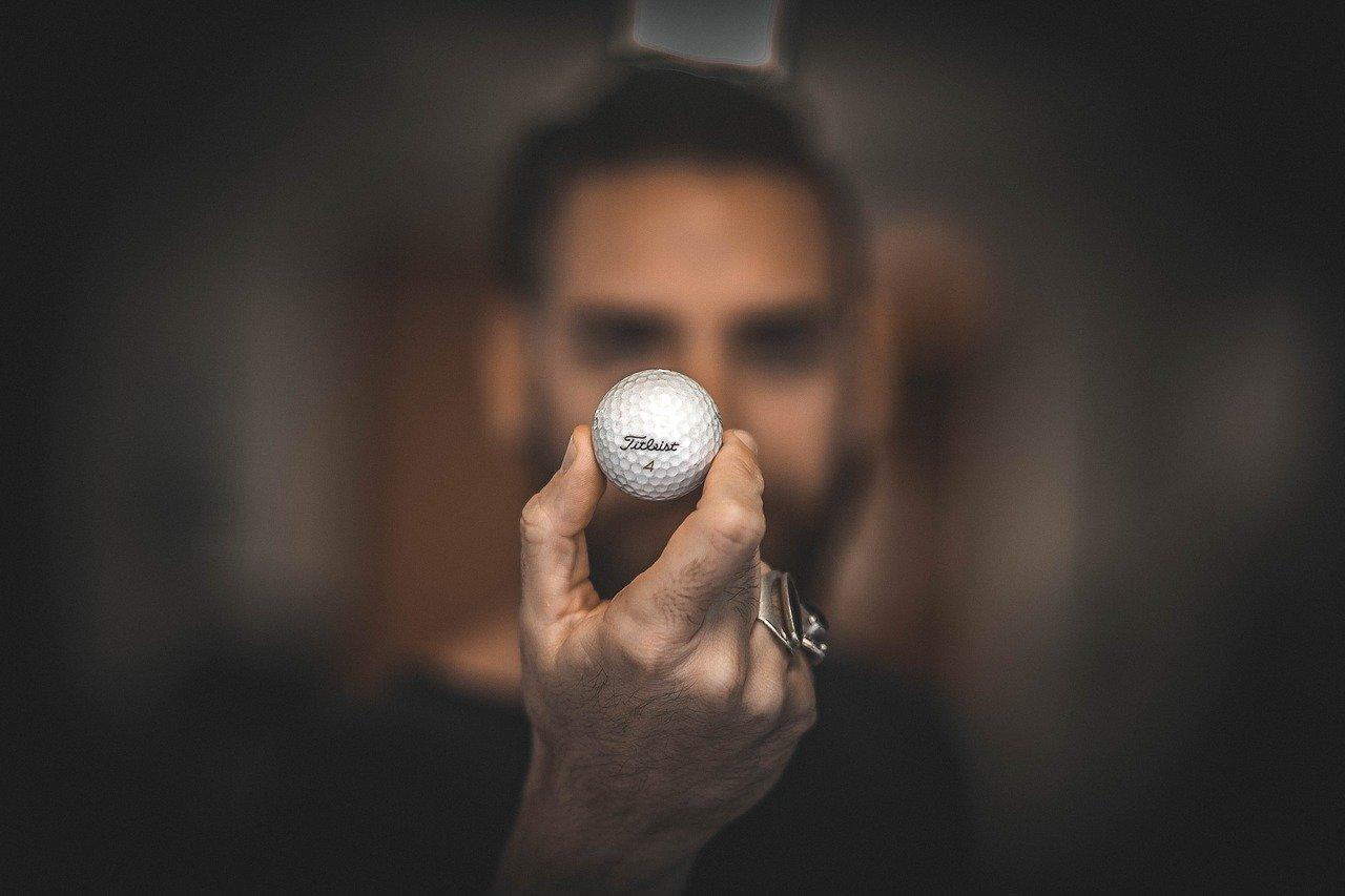 golf ball, hand, macro